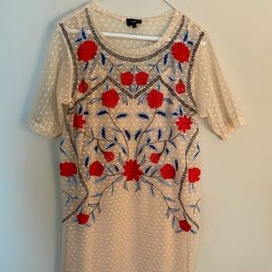 River Island Floral Embroidered Mesh T-Shirt Dress